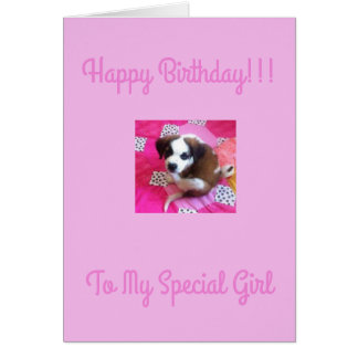Happy Birthday Greeting Card Baby Saint Bernard