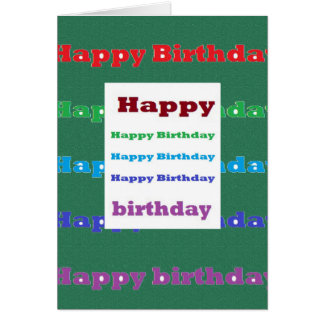 Happy Birthday Greeting Script Text Green base fun Greeting Card