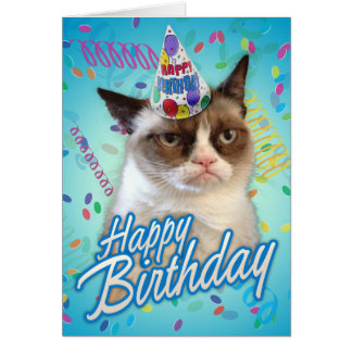 Happy Birthday Grumpy Cat Greeting Card