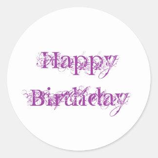 Happy Birthday, grunge look in purple Round Sticker