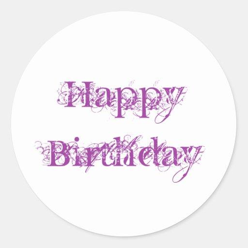 Happy Birthday, grunge look in purple Round Stickers