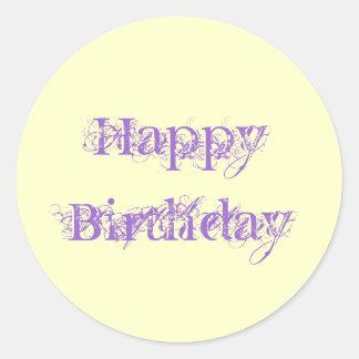 Happy Birthday, grunge look in purple & yellow Round Sticker