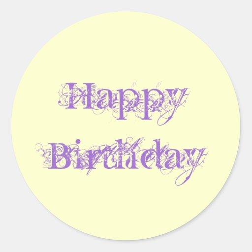 Happy Birthday, grunge look in purple & yellow Stickers