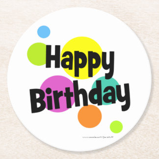 Happy Birthday Gumballs Round Paper Coaster