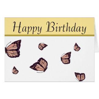 Happy Birthday Hand-Drawn Monarch Butterfly Card