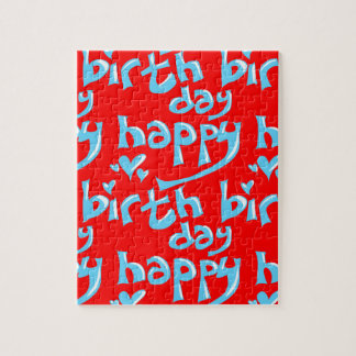 happy birthday hand writing text tiled puzzle