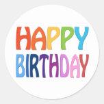 Happy Birthday - Happy Colourful Greeting Round Sticker