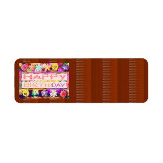HAPPY Birthday HappyBirthday Artistic Color Shade Return Address Label