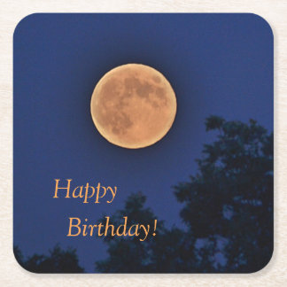 Happy Birthday Harvest Moon Square Paper Coaster