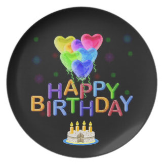 Happy Birthday Heart Balloons Party Plates