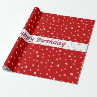 Happy Birthday Hearts on Red and White Wrap Paper