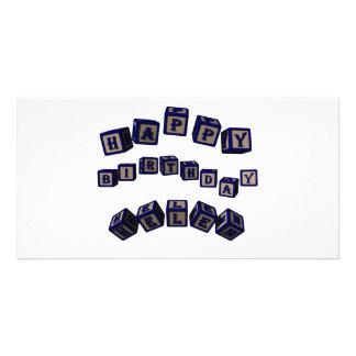 Happy Birthday Helen toy blocks in blue. Custom Photo Card