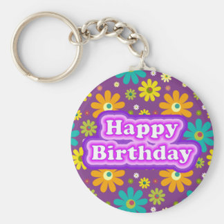 Happy Birthday Hippie Flowers Keychain