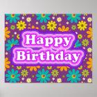Happy Birthday Hippie Flowers Poster