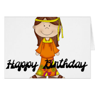 Happy Birthday Hippie Girl 1 Greeting Card