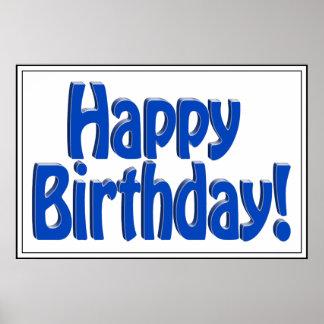 Happy Birthday HOBO Text - Blue Poster