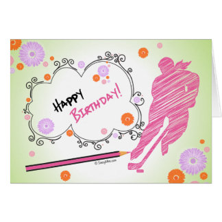 Happy Birthday Hockey Greeting Card - Female