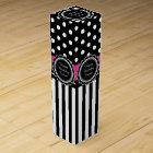 Happy Birthday Hot Pink and Black Retro Polka Dots Wine Box