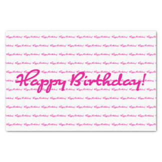 Happy Birthday! Hot Pink Casual Script Repeating Tissue Paper