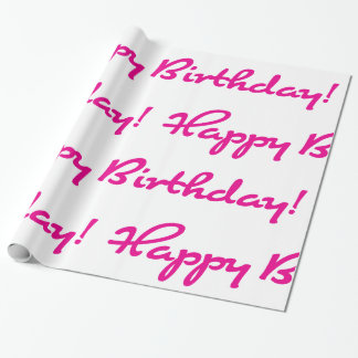 Happy Birthday! Hot Pink Casual Script Wrapping Paper