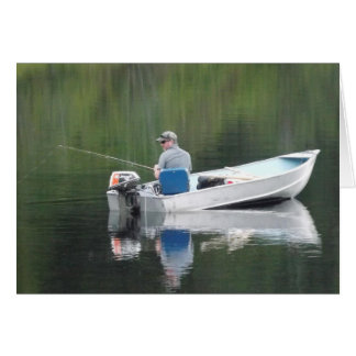 Happy Birthday Husband Fishing on Lake in Boat Greeting Card