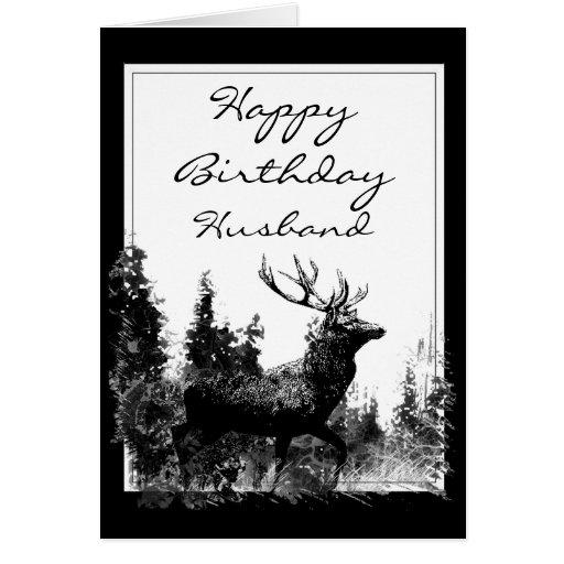Happy Birthday Husband  Vintage Stag, Deer Cards