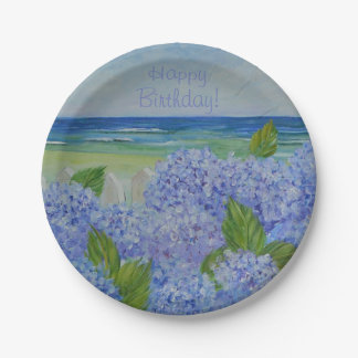 Happy Birthday Hydrangeas By The Sea Paper Plate