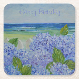 Happy Birthday Hydrangeas By The Sea Square Paper Coaster