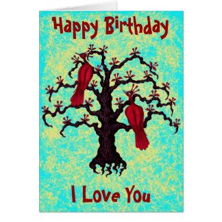 Happy birthday I love you cute red birds card
