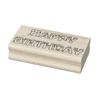 Happy Birthday Icing Font Rubber Stamp
