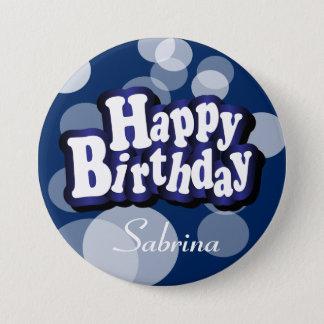 Happy Birthday in Dark Blue Bokeh 3 Inch Round Button