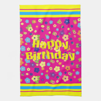 Happy Birthday in Flowers Kitchen Towel