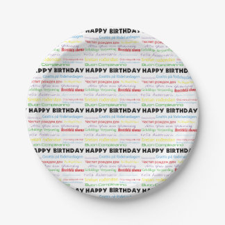 Happy Birthday in Many Languages 7 Inch Paper Plate