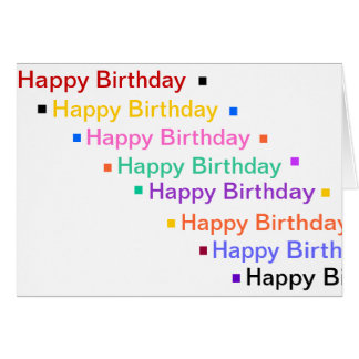 Happy Birthday in rainbow colors greeting card