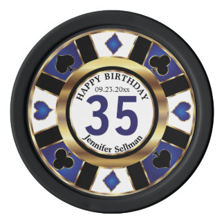 Happy Birthday in Vegas in Dark Blue Poker Chips