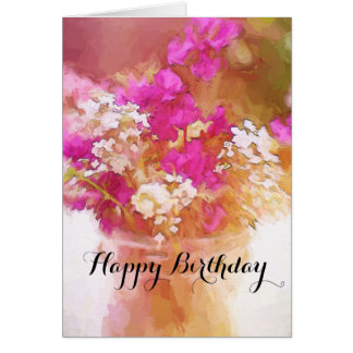 Happy Birthday Jar of Wildflowers Painting Card