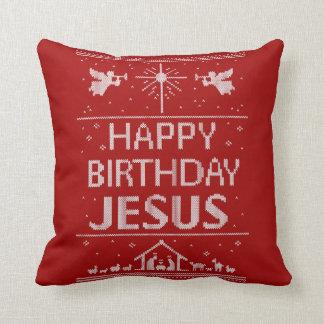 Happy Birthday Jesus Christmas Religious Red White Throw Pillow