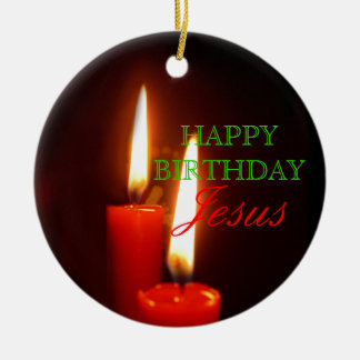 Happy Birthday, Jesus Large Red Candles Ceramic Ornament