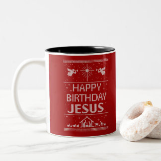 Happy Birthday Jesus Ugly Christmas Sweater Red Two-Tone Coffee Mug