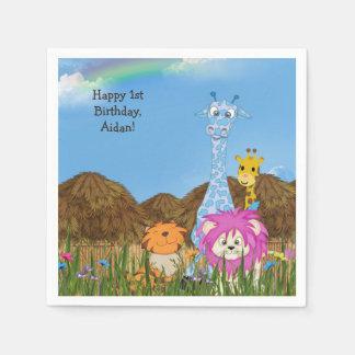 Happy Birthday jungle animals with huts Paper Napkin