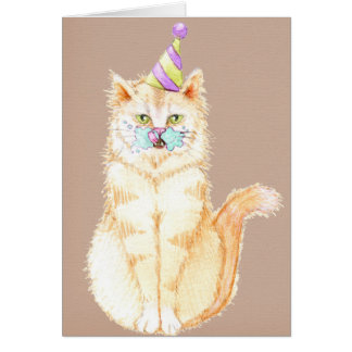 Happy Birthday | Kitty with Cake Face Card