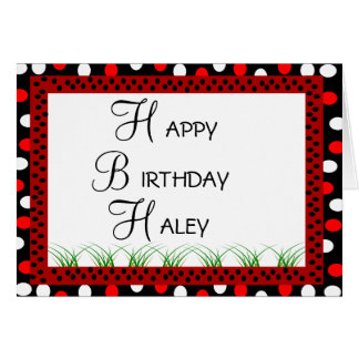 Happy Birthday Ladybug Red and White Polka Dots Card