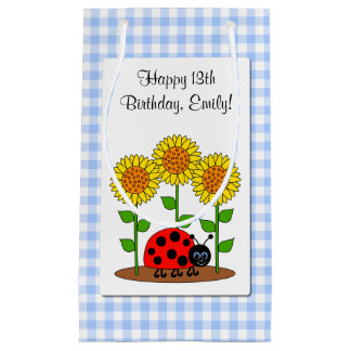 Happy Birthday Ladybug with Sunflower Personalized Small Gift Bag