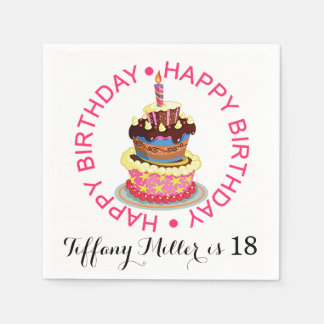Happy Birthday Layered Cake with Candle Disposable Napkins