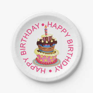 Happy Birthday Layered Cake with Candle Paper Plate