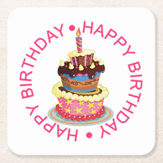 Happy Birthday Layered Cake with Candle Square Paper Coaster
