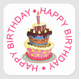 Happy Birthday Layered Cake with Candle Square Sticker