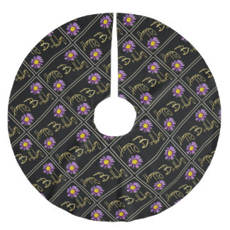 Happy Birthday Lilac Aster Brushed Polyester Tree Skirt