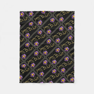 Happy Birthday Lilac Aster Fleece Blanket