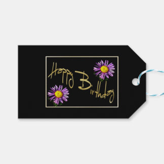 Happy Birthday Lilac Aster Gift Tags